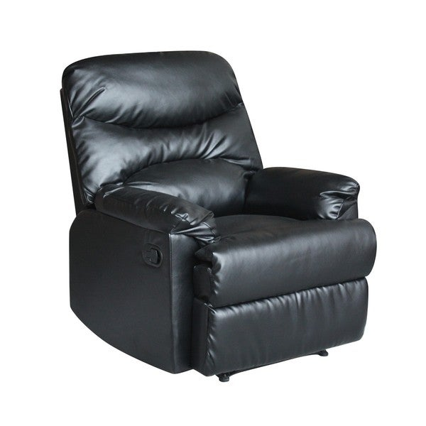 Tucker Black Bonded-leather Recliner