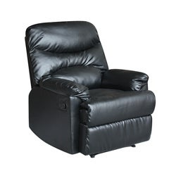 Tucker Black Bonded-leather Recliner