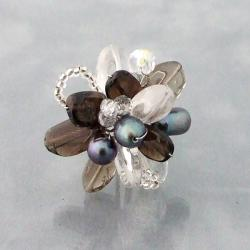 Silvertone Quartz and Pearl Adjustable Ring (6-8 mm)(Thailand)