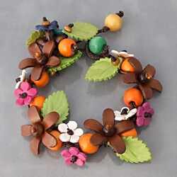 Organic Leather Daisy Garland Bracelet (Thailand)