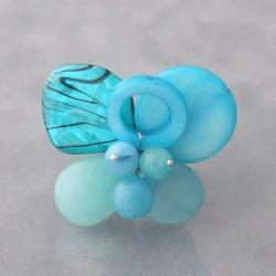 Silvertone Blue Mother of Pearl Butterfly Ring (Thailand)