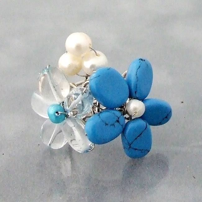 Silvertone Turquoise and Pearl Flower Ring (4-5 mm)(Thailand)