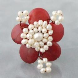 Silvertone Red Coral and Pearl Flower Ring (4-6 mm)(Thailand)