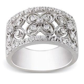 Miadora Sterling Silver 1 1/10 CT TGW White Cubic Zirconia Fashion Ring