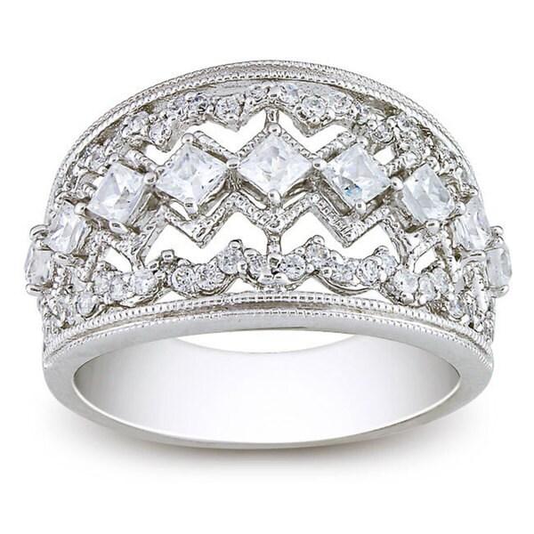 M by Miadora Sterling Silver 2 1/4 CT TGW White Cubic Zirconia Fashion Ring