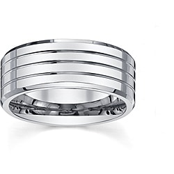 Men's 9 mm Cobalt Band with High Polish Grooves