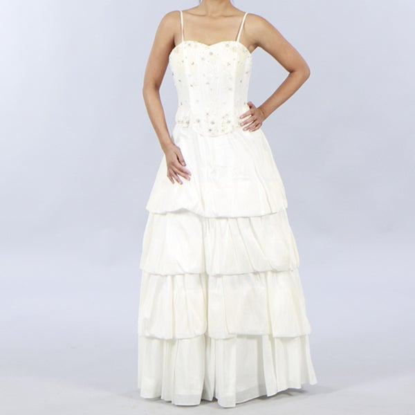 Aspeed Women's Embellished-Bodice Evening Gown with Tiered Skirt