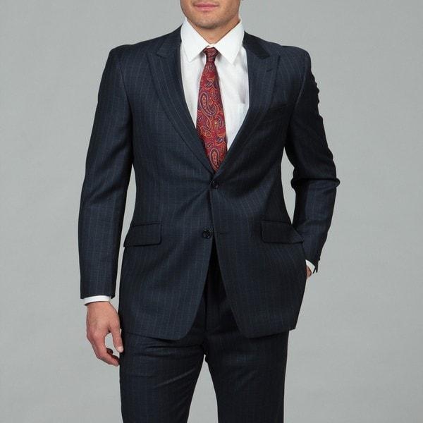 Tommy Hilfiger Men's 2-button Blue Pinstripe Wool Suit