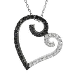 Silvertone Black and White Cubic Zirconia Heart Necklace