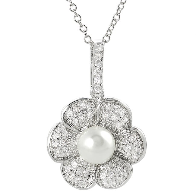 Journee Collection Silvertone Pave-set Cubic Zirconia and Faux Pearl Flower Necklace