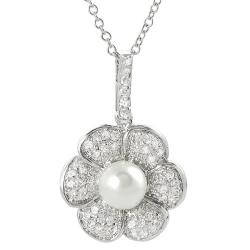 Silvertone Pave-set Cubic Zirconia and Faux Pearl Flower Necklace