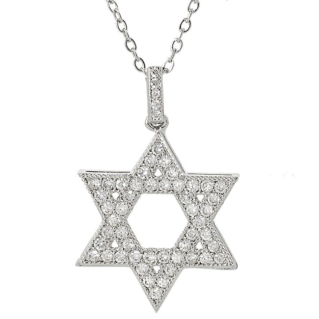 Silvertone Cubic Zirconia Star of David Necklace