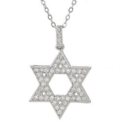 Silvertone Cubic Zirconia Star of David Necklace