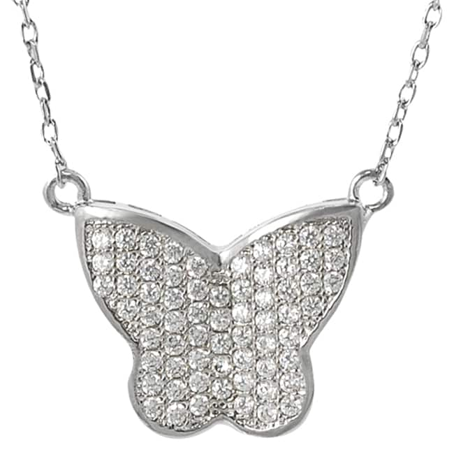 Silvertone Cubic Zirconia Butterfly Pendant Necklace