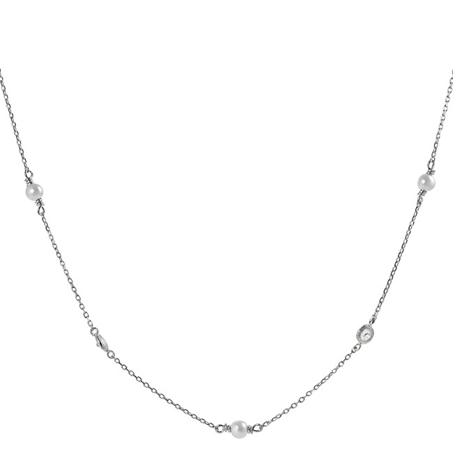 Journee Collection Silvertone Cubic Zirconia and Faux Pearl Necklace