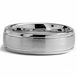 Oliveti Cobalt Chrome Men's Dome Comfort Fit Band (7 mm)