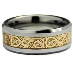 Men's Tungsten Carbide Gold Dragon Design Ring (8 mm)