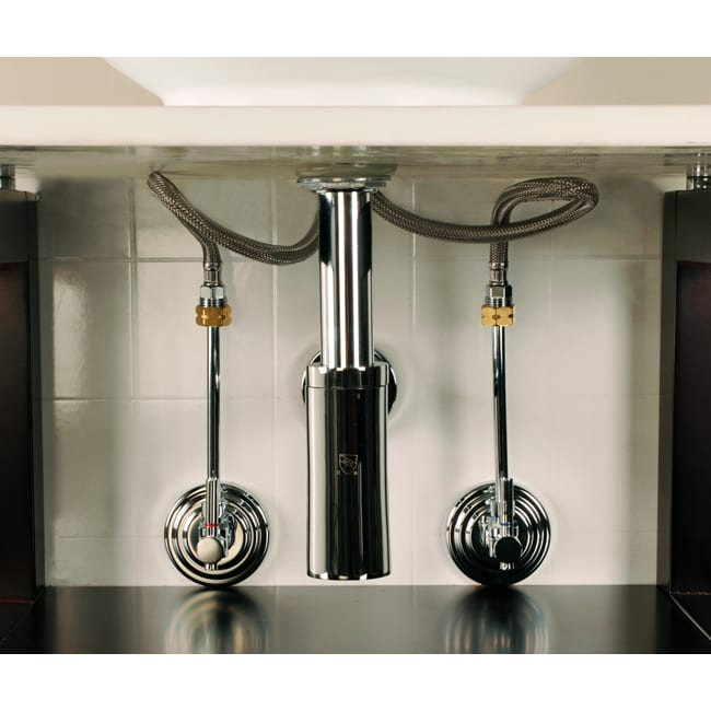 Decorative chrome vessel sink plumbing supply kit without