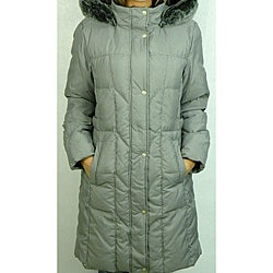 Utex Women's Checkered Hooded Down-blend Coat