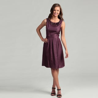 Adrianna Papell Women's Ice Plum Beaded Dress