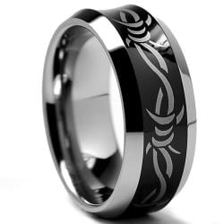 Men's Tungsten Carbide Black-plated Laser-etched Barbed Wire Design Band (8 mm)