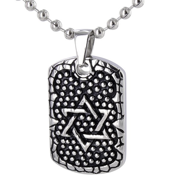 Stainless Steel Antiqued Star of David Necklace