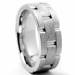 Oliveti Cobalt Chrome Men's Grooved Comfort Fit Band (8 mm)