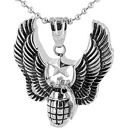 Stainless Steel Angel Winged Valor Star Grenade Necklace