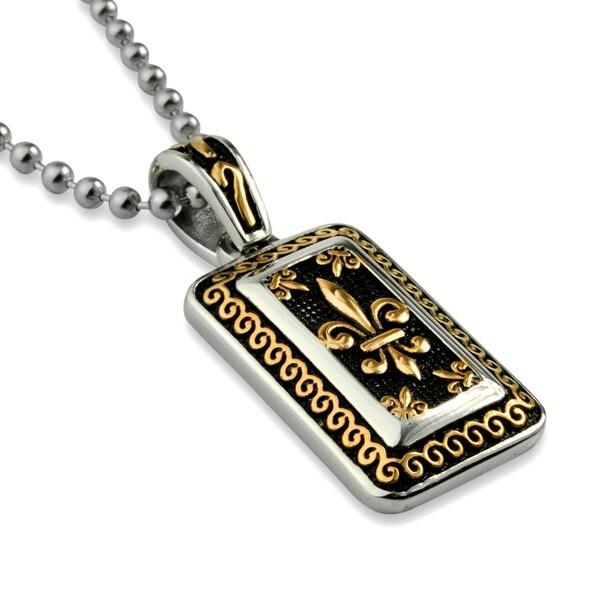 Stainless Steel Goldtone Fleur De Lis Necklace