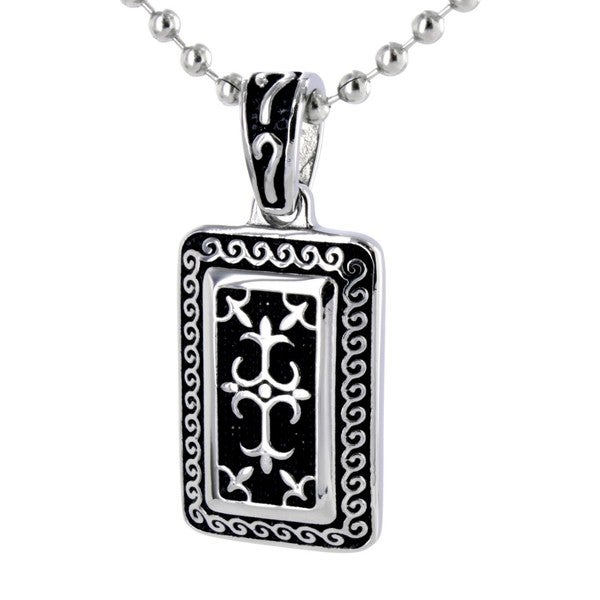 Stainless Steel Silvertone Gothic Cross Necklace