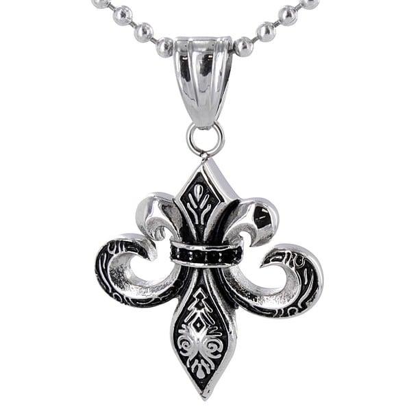 Stainless Steel Antiqued Fleur De Lis Necklace