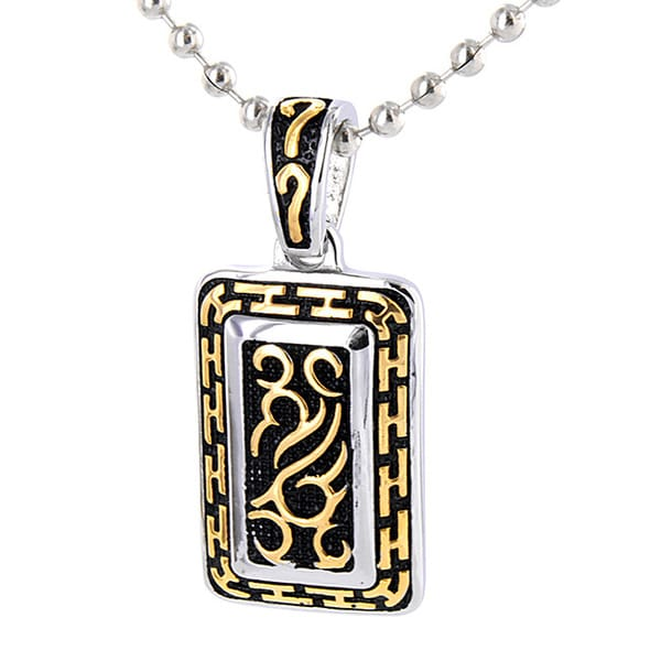 Stainless Steel Goldtone Tribal Design Necklace