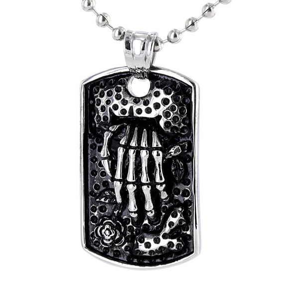 Stainless Steel Skeleton with Rose Necklace