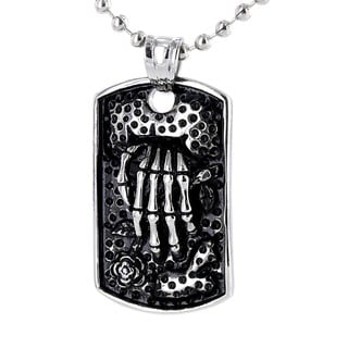 West Coast Jewelry Stainless Steel Skeleton with Rose Necklace
