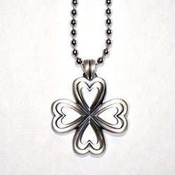 Fine Grade Pewter Heart Clover Pendant Necklace