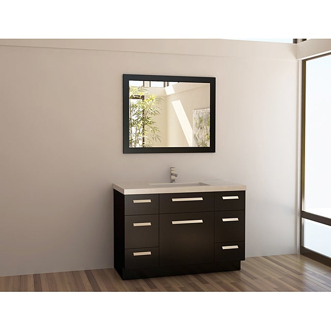 Modern Single Sink Vanity : Design Element Solid Wood 48-inch Quartz Top Modern Single Sink Vanity ...