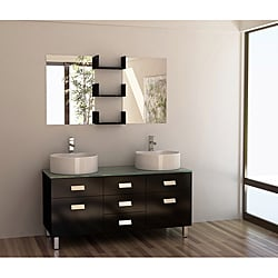 Design Element Wellington 55-inch Double Sink Bathroom Vanity Set with Vessel Sinks