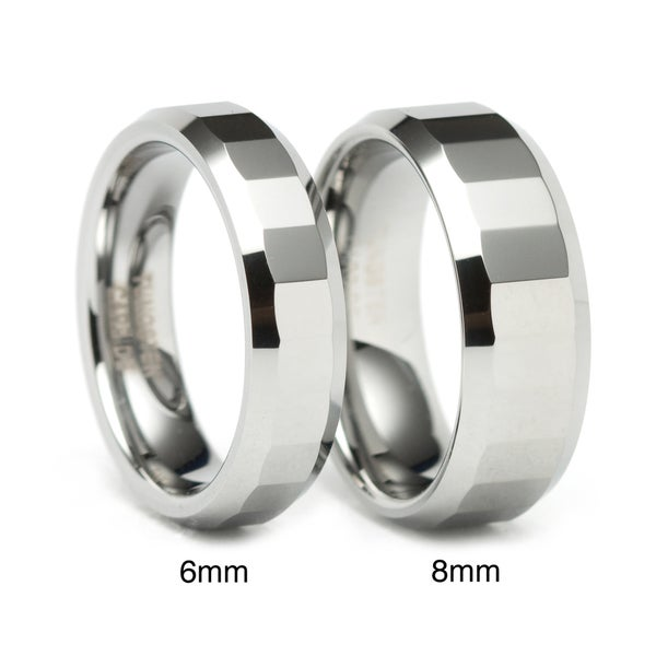 Men's Tungsten Rectangular Facet Band (8 mm)
