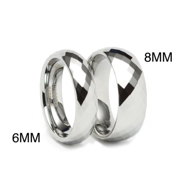 Men's Tungsten Carbide Diamond Shape Faceted Ring (6 or 8 mm)