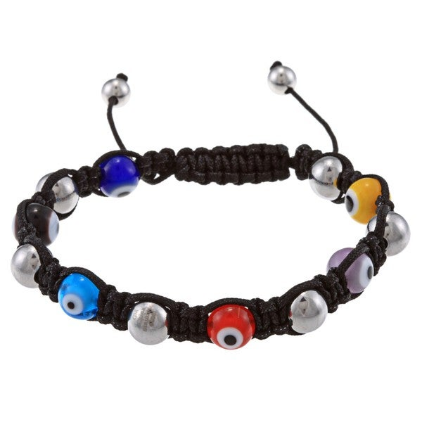 La Preciosa 8mm Multi-Colored Evil Eye and Stainless Steel Beads w/ Black Cord Macrame Bracelet