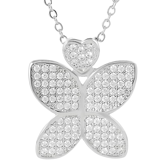 Journee Collection Silvertone Cubic Zirconia Butterfly Necklace