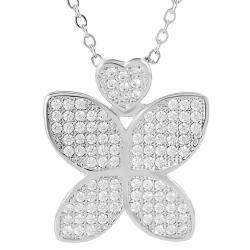Silvertone Cubic Zirconia Butterfly Necklace