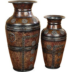 Athena Large Rustic Decorative Metal Vase 2-Piece Set
