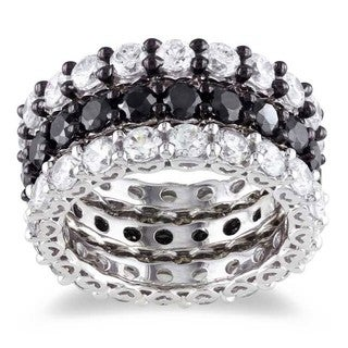 Miadora Sterling Silver Stackable Cubic Zirconia 3-piece Eternity Ring Set (10 4/5ct TGW)