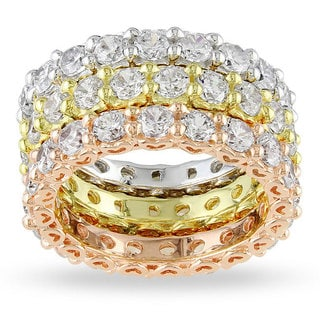 Miadora Tri-color Silver Cubic Zirconia 3-piece Eternity Ring Set (10 4/5ct TGW)