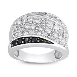 Sterling Silver Black and White Cubic Zirconia Fashion Ring