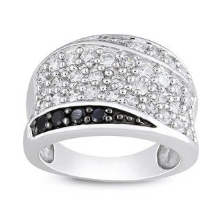 M by Miadora Sterling Silver Black and White Cubic Zirconia Fashion Ring