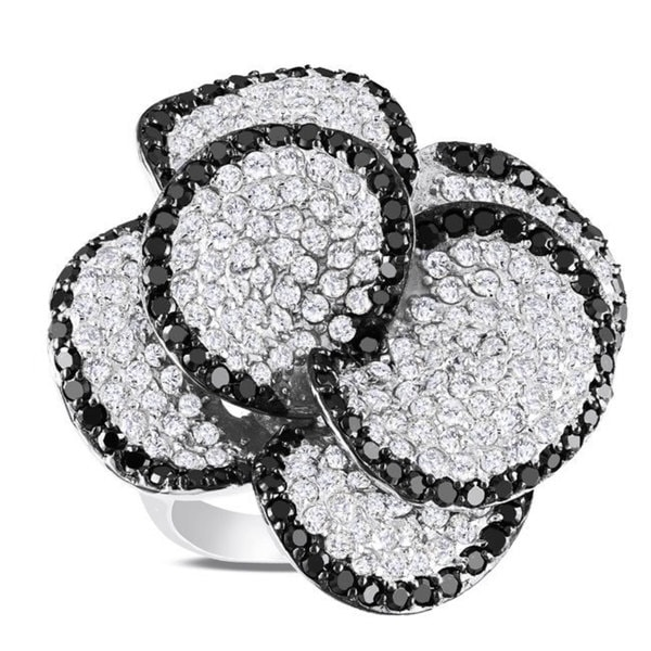 Miadora Sterling Silver White and Black Cubic Zirconia Flower Ring (12ct TGW)