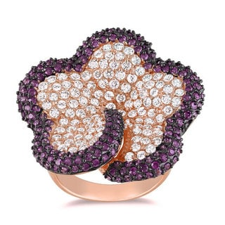 Miadora Sterling Silver White and Purple Cubic Zirconia Ring (9 7/8ct TDW)