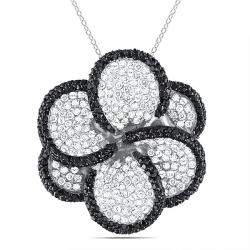Miadora Sterling Silver White and Black Cubic Zirconia Necklace (12 1/2ct TGW)
